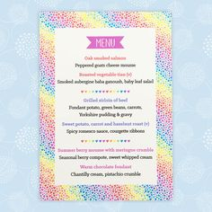 The Rainbow Hearts wedding menu can be an individual guest menu or a large menu for the table. The design is printed using splash proof ink. Wedding Place Names, Wedding Places, Wedding Menu, Wedding Day, Yorkshire Pudding Gravy, Fondant Potatoes, Vegetable Tian, Summer Berries, Rainbow Heart