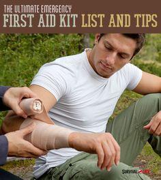 The Ultimate Emergency First Aid Kit List And Tips  | Survival Prepping Ideas, Survival Gear, Skills & Preparedness Tips - Survival Life Blog: survivallife.com #survivallife