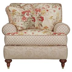 Classic arm chair with floral upholstery and calico accents. A cozy chair! Chair And Ottoman Set, Cozy Chair, Chair Cushions, My Living Room, Living Room Chairs, Dining Chairs, Ideas Vintage, Floral Chair, Overstuffed Chairs