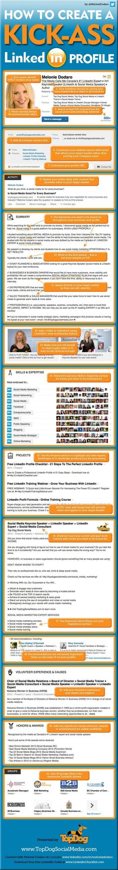 21 Steps to Create an Awesome #LinkedIn Profile - Jeffbullas's Blog #infographic #branding