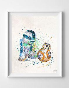 Star Wars Print, BB8 Art, R2D2 Poster, Watercolor Art, Room Decor, Baby Shower Gift, Map Art, Illustration, Modern Art, Fathers Day Gift