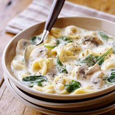 Creamy Tortellini Spinach Mushroom soup in crockpot; uses dried tortellinis.