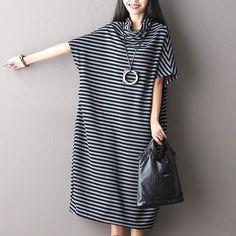 Striped  Loose Short Sleeve Cotton Dress