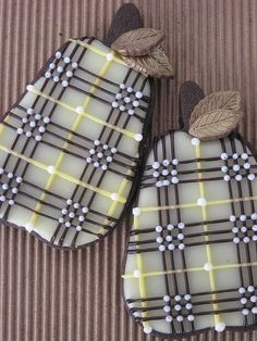 Chocolate Plaid Pear Cookies with Gold Leaves by Diane Drake