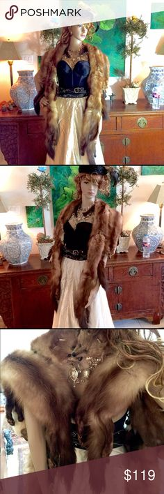 """Burning Man Mink Stole EUC 1940's Six Mink connected Stole. Burning Man Fall Special for costuming! Each side measures 56"""". 4th photo best represents color. Any questions? Please ask! Accessories Scarves & Wraps"""