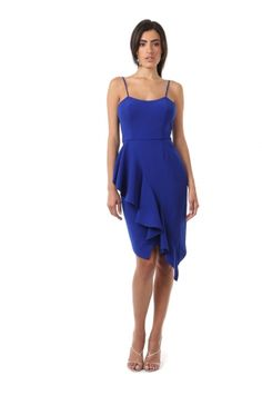 ROMERO DRESS from Jay Godfrey. MATTE CREPE SPAGHETTI STRAP DRESS WITH RUFFLE FRONT FROM WAIST TO HEM. HIDDEN ZIPPER BACK WITH HOOK AND EYE CLOSURE. $354