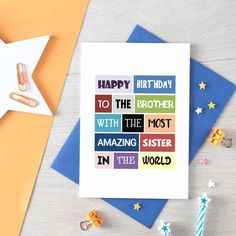 Brother Birthday Card From Sister Funny Brother Birthday Cards, Best Friend Birthday Cards, Cousin Birthday, Birthday Cards For Boyfriend, Happy Birthday Quotes, Happy Birthday Cards, Boyfriend Card, Card Birthday, Birthday Gifts