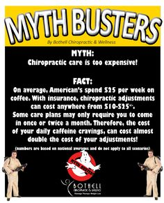 Think that #chiropractic care is too expensive to add into your #wellness plan? You may want to check your monthly #coffee bill before you throw in the towel. Myth #7, busted! #mythbusters #halloween