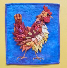 Chicken Little art quilt by Becka Rahn. Made with folded fabric.