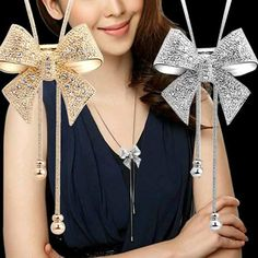 Gold Plated Bow Colares Femininos Necklace