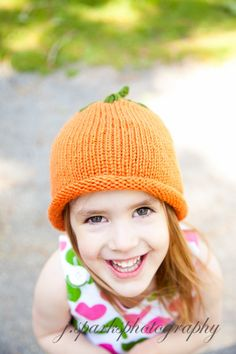 Pumpkin Hat Knitted For Baby or Child Free Shipping With Purchase Of Another Item (18.00 USD) by knitsbygramma