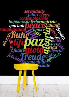 Word Cloud Wallpaper by Bee-Bee Deigner (beebeedeigner) from per m² Word Clouds, Cloud Wallpaper, Sticks, Commercial, Forget, Retail, Delivery, Positivity, Serenity