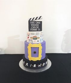 "60 Likes, 1 Comments - Baked Envy Cakes • (@baked_envy) on Instagram: ""My very own birthday cake that I made for my ultimate F.R.I.E.N.D.S themed 21st birthday party. The…"""