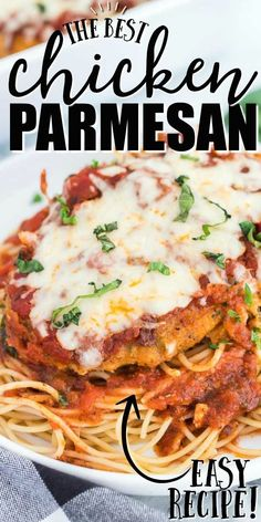 Savory and delicious, this authentic homemade chicken parmesan is one of our favorite classic Italian meals. Breaded chicken breast is baked with marinara or homemade pasta sauce and plenty of chees Homemade Chicken Parmesan, Oven Baked Chicken Parmesan, Easy Chicken Recipes, Easy Dinner Recipes, Easy Meals, Breaded Chicken Recipes, Chicken Parmesan Recipe Without Bread Crumbs, Recipe Chicken, Authentic Italian Chicken Parmesan Recipe