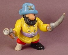Fisher Price 1996 Yellow Jacks Pirate Captain Figure With Sword & Pistol, Blue Hat, 77470 77072