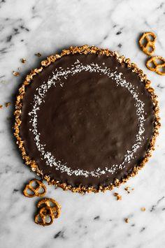Five-Ingredient Chocolate Coconut Tart with Pretzel Crust