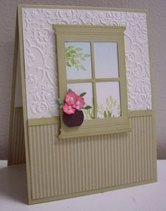 Wonderful scene using the window die. Note the adorable itty bitty vase of flowers. How cute is that?