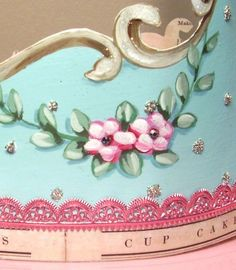 Hand painted crown by Jenny & Aaron / Everyday is a Holiday #aqua #roses #pink #frou frou