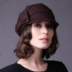 Fashion women bow beret hat for women autumn winter hats coffee