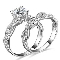 Fashion Intersect Design 925 Sterling Silver Engagement Ring Set