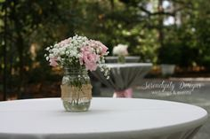 pink gray wedding burlap mason jar centerpieces at eden gardens state park www.serendipity-designs.com