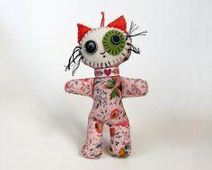 Addie  original pocket kitty folk art doll by yoborobo on Etsy, $17.00