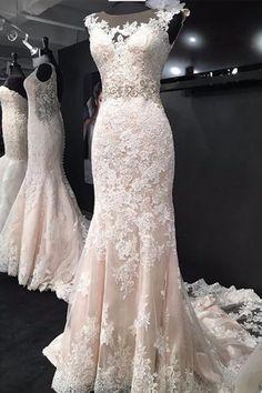 Elegant Bateau Sleeveless Court Train Mermaid Lace Wedding Dress