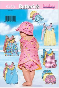 Sewing Pattern Infant Boy and Girl Rompers Pattern, Baby Sundress Pattern, Toddler Sunsuit Pattern, Butterick Sewing Pattern 5625 Hat Patterns To Sew, Baby Dress Patterns, Baby Clothes Patterns, Mccalls Patterns, Clothing Patterns, Sewing Patterns, Patron Butterick, Romper Pattern, Girls Rompers