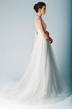 Side view of the lace top gown. The Babushka Ballerina Spring 2013.