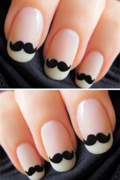 Having short nails is extremely practical. The problem is so many nail art and manicure designs that you'll find online Love Nails, How To Do Nails, Fun Nails, Wedding Nails For Bride, Bride Nails, Moustache Nails, Mustache Theme, Black And White Nail Designs, Nailart