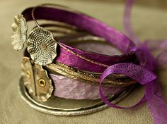 Lavender and Magenta GYPSY bangle stack . smashed knitting needle BRACELETS and beaten bollywood bangles made from and by Christine Marie Davis Bangles Making, Bracelet Making, Jewelry Making, Gypsy Jewelry, Bijoux Diy, Hair Ornaments, Boho Gypsy, Knitting Needles, Deep Purple