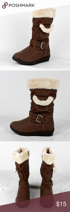 Faux leather and fur mid calf boot (Coco-3 Brown) Shaft 10 1/4in.                                                               ¥ my boutique ¥                                                                                                                        😍All items brand new 😢No price negotiation please ✌🏻️Bundle for discounts 😬No trades & PayPal 😊Please feel free to ask any questions Shoes Winter & Rain Boots