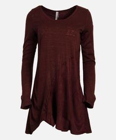 Maroon SUEDETTE KNIT TOP