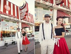 50's Retro Diner Engagement via Glamour and Grace