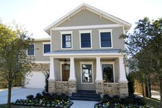 Gray craftsman houses exterior: pearl gray hardie plank with stone. Exterior House Colors, Exterior Paint, Exterior Design, Beige House Exterior, Exterior Siding Options, Exterior Trim, Shingle Siding, House Siding, Hardiplank Siding