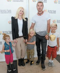 The most perfect family! Gwen Stefani and Gavin Rosdale with their two sons Zuma and Kingston and their little friend.