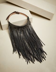 Hats, belts and accessories for women Waterfall necklace in monili and metallic leather Fringe Necklace, Leather Necklace, Boho Necklace, Leather Jewelry, Leather Craft, Diy Jewelry, Jewelery, Jewelry Design, Leather Fringe