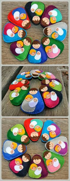 16 Awesome Ideas for DIY Christmas Decorations Art and Craft Felt Christmas Decorations, Christmas Ornaments To Make, Christmas Sewing, Christmas Nativity, Felt Ornaments, Christmas Art, Christmas Projects, Felt Crafts, Holiday Crafts