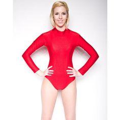 NawtyFox Red Mock Neck Long Sleeve Leotard Shiny Spandex Dancewear Super Hero  S-3X