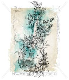 Floral Flower Music Guitar Sketch - Womens T-Shirt Designs