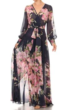 long sleeve maxi dress in a relaxed style with a v-neck, a waist tie and pleated detailing POLYESTER Color: Blue Maxi Dress With Sleeves, Floral Maxi Dress, Boho Dress, Navy Chiffon Dress, Floral Chiffon, Maxi Outfits, Maxi Dresses, Sweater Outfits, Casual Dresses