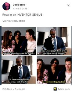 Rosa's Tequila Steam 😂😂 Brooklyn Nine Nine Funny, Brooklyn 9 9, Andy Samberg, Series Movies, Movies And Tv Shows, Tv Series, Charles Boyle, Detective, Jake Peralta