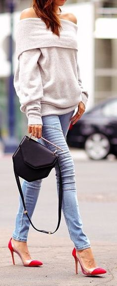 Off The Shoulder Sweater Casual look for an early autumn night out!