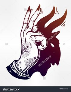 Hand drawn dark romantic poster of a hand with a devil shaped shadow covered in flash style tattoos. Vector illustration isolated. Mystic magic symbol for your use