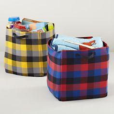 Kids Storage: Buffalo Check Cube Bins | The Land of Nod