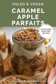 These Paleo Vegan Caramel Apple Parfaits have 3 layers of deliciousness. A creamy dairy free cheesecake, a sweet caramel apple, and a rich crumb. Together they make an incredible dessert that is also gluten free, dairy free, and naturally sweetened.