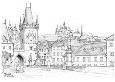 H Samuel Wedding Rings Mens Line Drawing, Painting & Drawing, Pont Charles, Famous Architecture, House Drawing, Urban Sketchers, Art Sketchbook, Line Art, Scenery