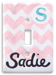 Personalized Hand Painted Light Switch Cover, Switch Plate   - Baby Chevron- Personalized Baby's Nursery - Kids Room