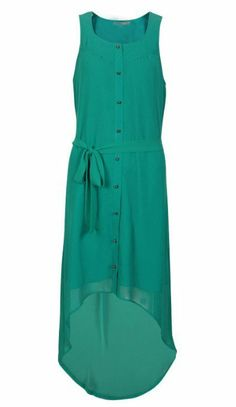 green chiffon dress.