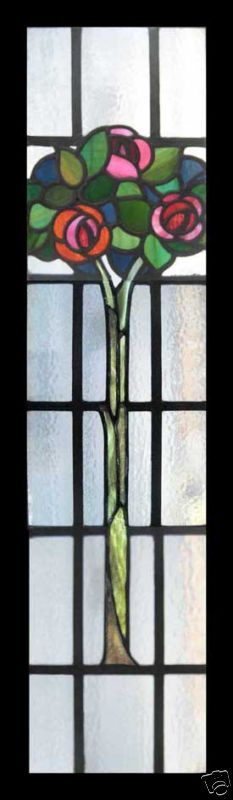 Art Nouveau Enchanted Rose Tree Stained Glass Window